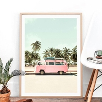 Pink Camper Van Bus Canvas Art Prints Retro Car Poster Beach Palm Trees Canvas Painting Coastal Wall Picture Boho Art Home Decor
