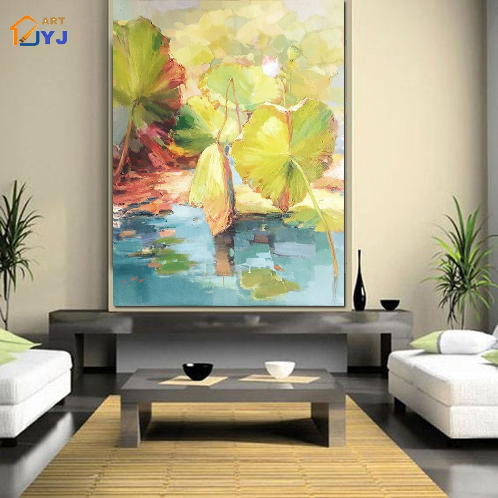 JYJ Mix Color Lotus Pic Wall Art Hand Painted Modern Abstract Oil ...