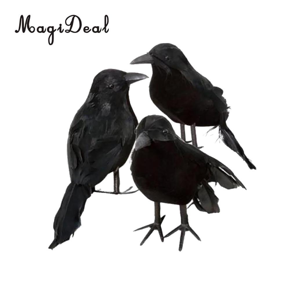 Halloween Stuffed Feather Crow Bird Blackbird Raven Fancy Dress Decor Props