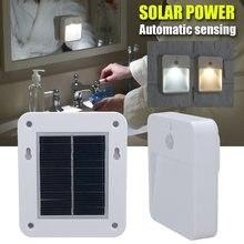 Solar Power Charging LED Infrared Body Motion Sensor Night Light Corridor Hallway Wall Mounted Light Home Warm White Lighting