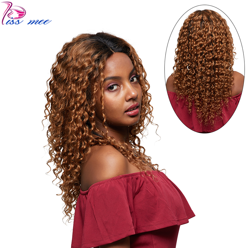 KISS MEE 1B 30 Blonde Ombre Lace Front Human Hair Wig 150 Density Peruvian Deep Wave Lace Front Wigs For Black Woman Remy Hair