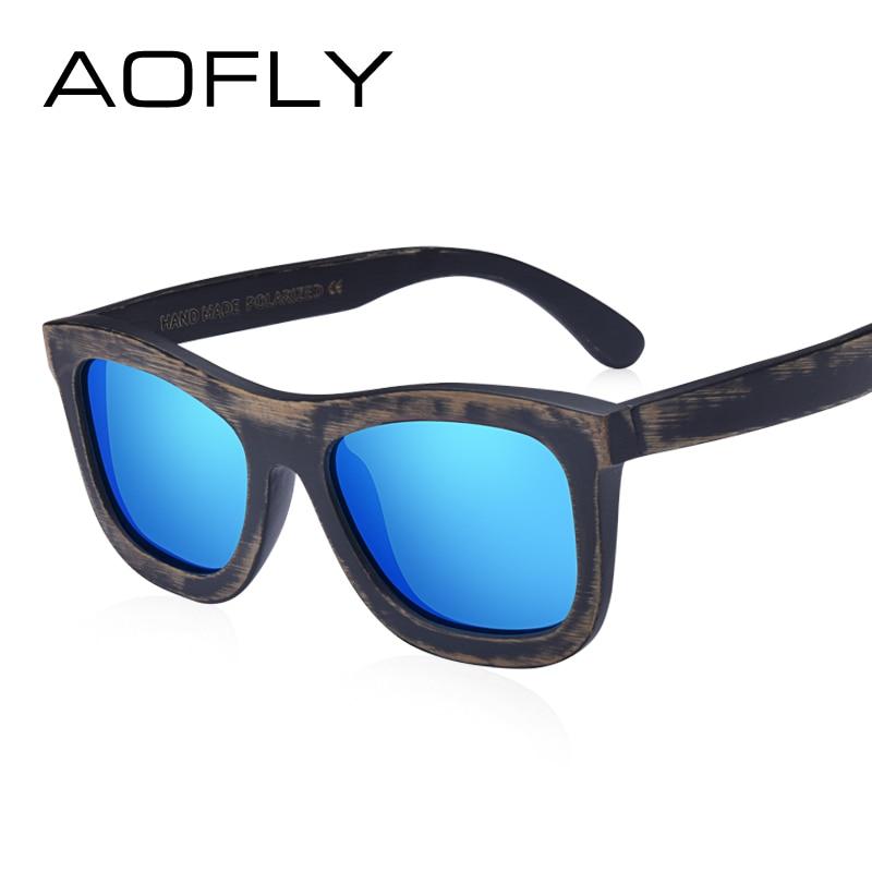 AOFLY BRAND DESIGN Vintage Retro Men Wood Polarized Sunglasses Women Bamboo Sunglasses H ...