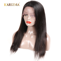 360 Lace Frontal Wig Karizma Pre Plucked Lace Front Wigs 130% Indian Straight Hair Remy Human Hair Wigs 8 24 Inch Natural Black