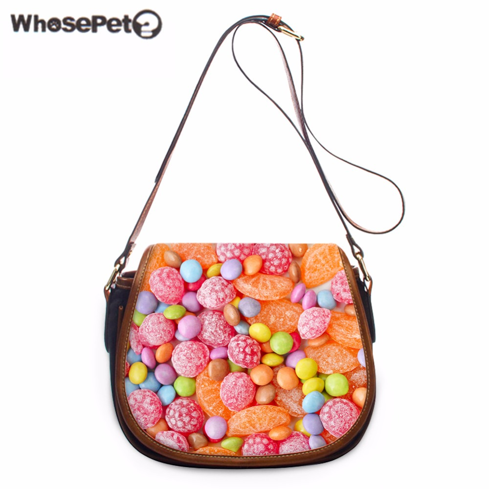WHOSEPET NEW Candy Printing Women's Messenger Bags Fashion Pu Shoulder Bags Girls Multi-color Sling Bag Causal Cross Body Purse free shipping fashion pu women messenger bags candy color pure yellow color cross body bag shoulder bags