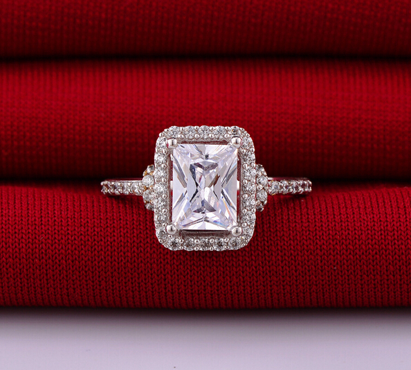 3 Carat brilliant Princess Cut NSCD Simulated Diamond Ring wedding Engagement ring diamante anel aneis anillo anneau clearance sale tr255 vintage jewelry ring wedding band for women 5 carat brilliant cut nscd simulated gem engagement rings