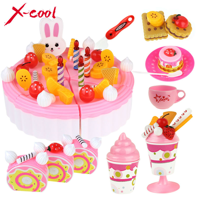 Diy children play house toy kitchen cookware set fruit for Kitchen set cake