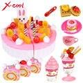 Diy niños play house toy menaje de cocina conjunto pastel de cumpleaños fruta honestamente creativo juguete educativo pretend regalo para los niños