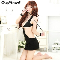 Chafferer Bundled Metal Ring Hot Sexy Lingerie For Women Black Hollowed Exotic Underwear Bandage Dress Racy Adult Sex Clothes