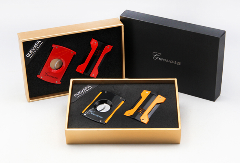 GUEVARA Fine Quality Cigar Set With Cigar Cutter /Scissors And Lighter Yellow /Red Color Cigar Tool Ideal Gift For Friend