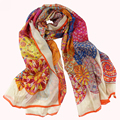2015 Spring And Autumn Women Orange Long Silk Scarves Fashion Top Grade 100% Natural Silk Grey Pink Silk Scarf Printed 180*110cm