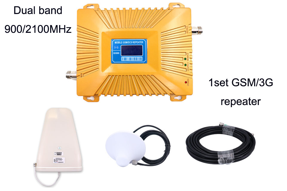 New dual band 900 2100 repeater gsm 3g w cdma 2100mhz gsm 900mhz cell phone signal