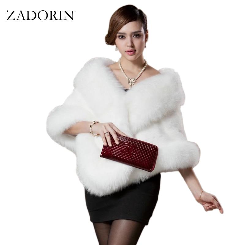 ZADORIN 2019 Winter Fashion Women Faux Fox Fur Coat Female Cloak Poncho Cape Bridal Wedding Dress
