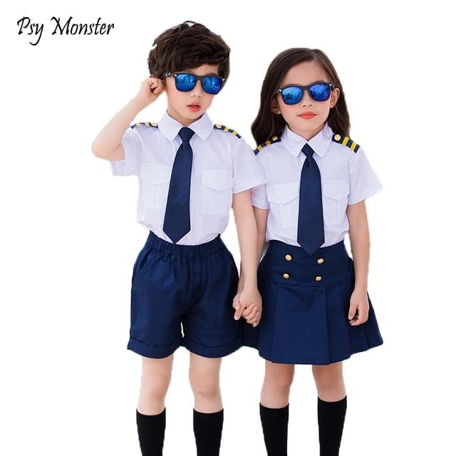 40b19b1ff164 Kids Summer School Uniform Class Suit Tie T-shirt Skirt Shorts 2pcs Baby  Boys Girl Choral Uniforms Children Clothing Set X3