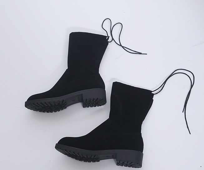 Neue Mode Ankle Elastische Socke Stiefel Chunky High Heels Stretch Frauen Herbst Sexy Booties Spitz Frauen Pumpe Size35-43