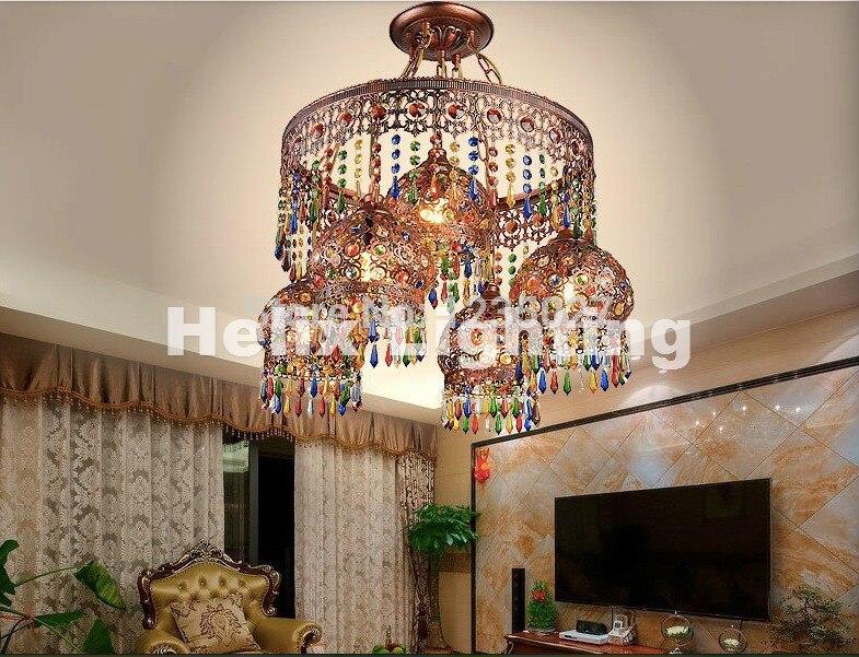 Tiffany Crystal Pendant Lamps Lighting  4+1L Bohemian Style Semicircel Iron Ceiling Pendant lamps,AC110-240V Free Shipping crystal pendant lamps lighting fixtures 4 1l bohemian style semicircel iron ceiling pendant lamps ac110 240v free shipping