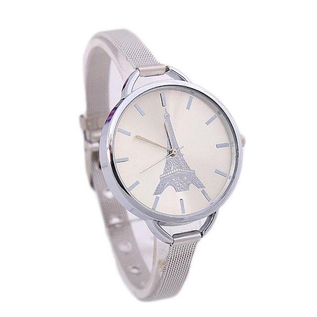 Zegarek damski wieża Eiffla cienka bransoletka dwa kolory