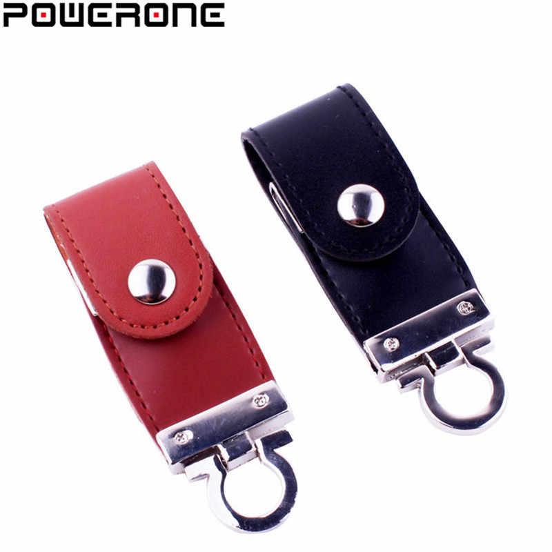 POWERONE couro pele de couro da corrente chave usb flash drive memory stick pendrives gb 32 8 gb comercial 4 gb 16 gb usb presente creativo