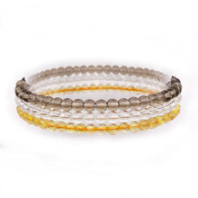 3pcs / Set Natural Stone Beads Women Girls Yoga Bracelet Sets 18-18.5 CM Citrines Crystal Smoky Stones For Her Gift #7