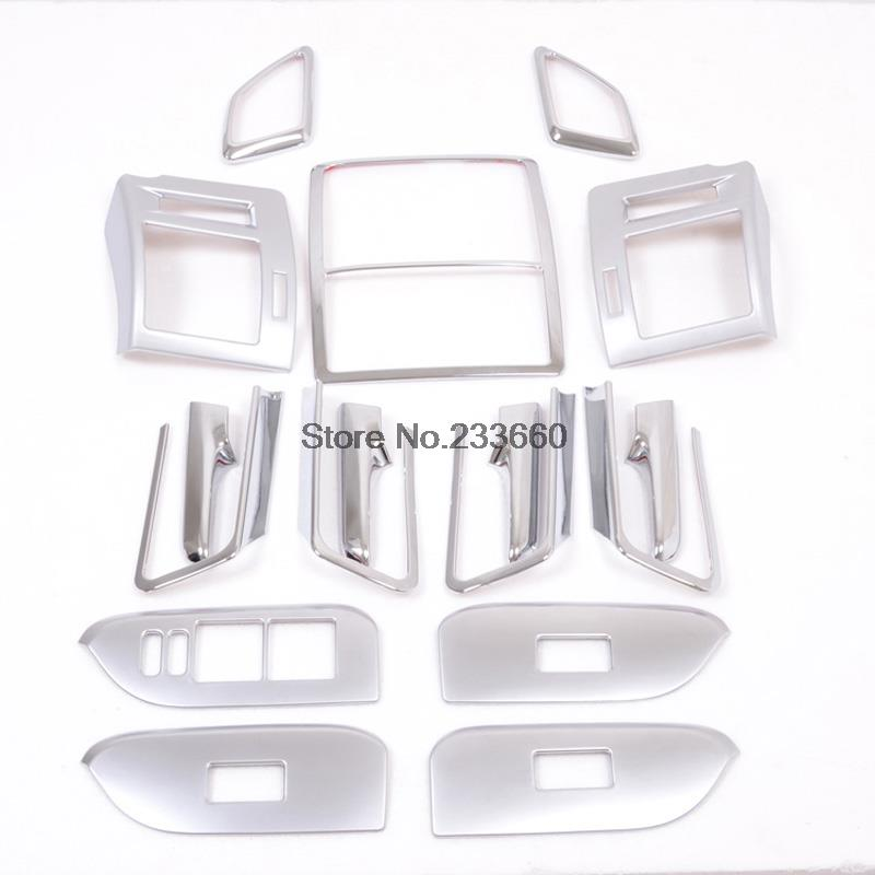 For Toyota Prado J150 2014 2015 ABS Interior Accessories Door Handle Armrest Air Vent Outlet Reading lamp Cover Trims 17pcs/set for toyota prado fj150 2014 2016 auto cover accessories interior door handle door armrest air outlet lamp frame covers 17pcs set