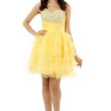 Желтые Бальные платья трапециевидной формы из органзы с бусинами и кристаллами, Короткие мини-блестящие 16 коктейльных платьев