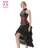 Corzzet Red Halter Steel Boned Overbust Steampunk Corset Dress Waist Trainer Victorian Burlesque Costume Skirt Sets