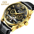 Kinyued Fashion Automatic Mechanical Watch Men Waterproof Skeleton Black Watches Leather Mens Gold Montre Erkek Mekanik Saat