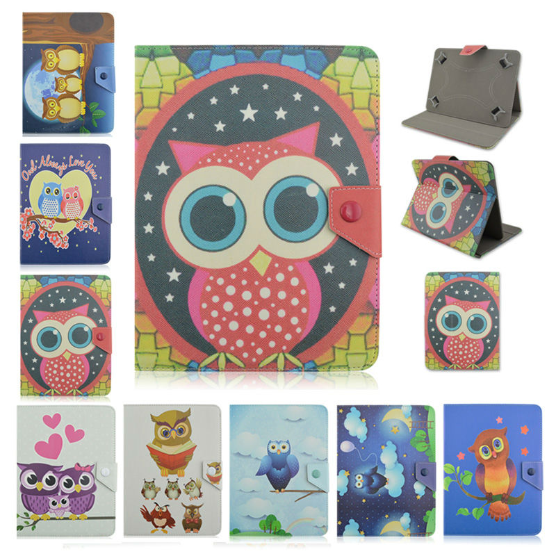 table accessory Owl Series 7 Inch Universal Leather Stand Cover Case For ZXC Z7 MTK8377 Universal 7.0 inch case For Kids+screen protector KF492A