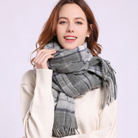 Women Winter Fine Sheep Wool Scarf Thick Warm Luxury Wool Wraps Shawls Ladies Classic Tassels Plaid Grey Wool Scarves 180x70cm