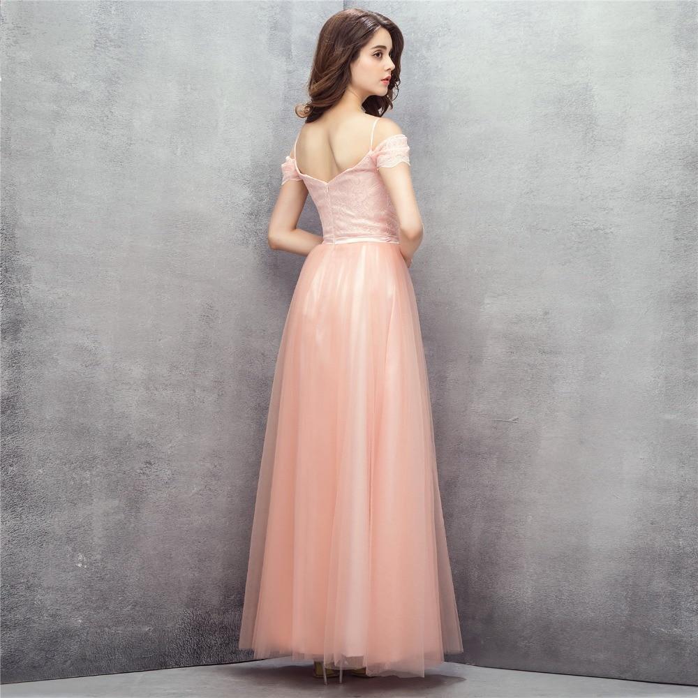 Peach Evening Dresses 2018 A line V neck Tulle Lace Backless Elegant ...
