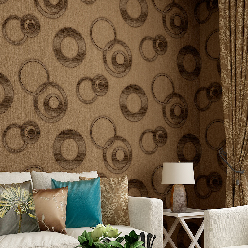 Beibehang Wallpaper Modern Sederhana Pvc Lingkaran Ruang Tv Latar Belakang Dinding Hotel Pemodelan Di