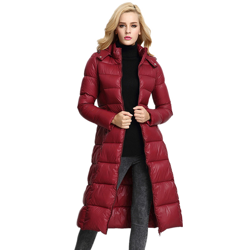 2017 Autumn Winter New Women X-Long Down & Parkas Jacket Coat Female Plus Size Slim Thick Padded Hooded Knee Long Cotton Coat wmwmnu women winter long parkas hooded slim jacket fashion women warm fur collar coat cotton padded female overcoat plus size