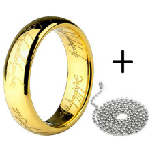 free shipping Word printed gold color rings with bead chain 316L Stainless Steel for men women jewelry wholesale lots(China)