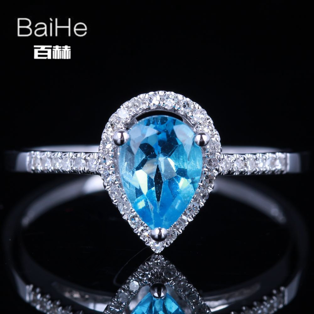 BAIHE Sterling Silver 925 0.57CT Certified Blue Flawless Pear cut 100% Genuine Blue Topaz Wedding Women Trendy Fine Jewelry Ring helon sterling silver 925 flawless 11x9mm emerald cut 4 36ct real blue topaz natural diamond engagment wedding ring fine jewelry
