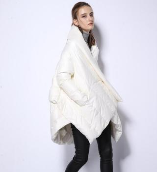 2018 New brand high quality fashion design down coat women's irregular cape in winter loose 90% white down jacket r435