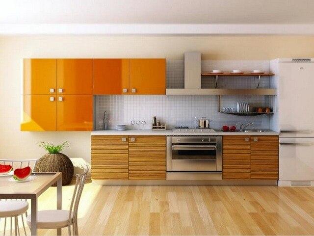 2017 Nuevo diseño gabinetes de cocina Orange color moderno alto ...