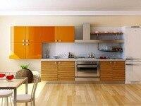 2017 new design kitchen cabinets orange color modern high gloss lacquer kitchen furnitures L1606051