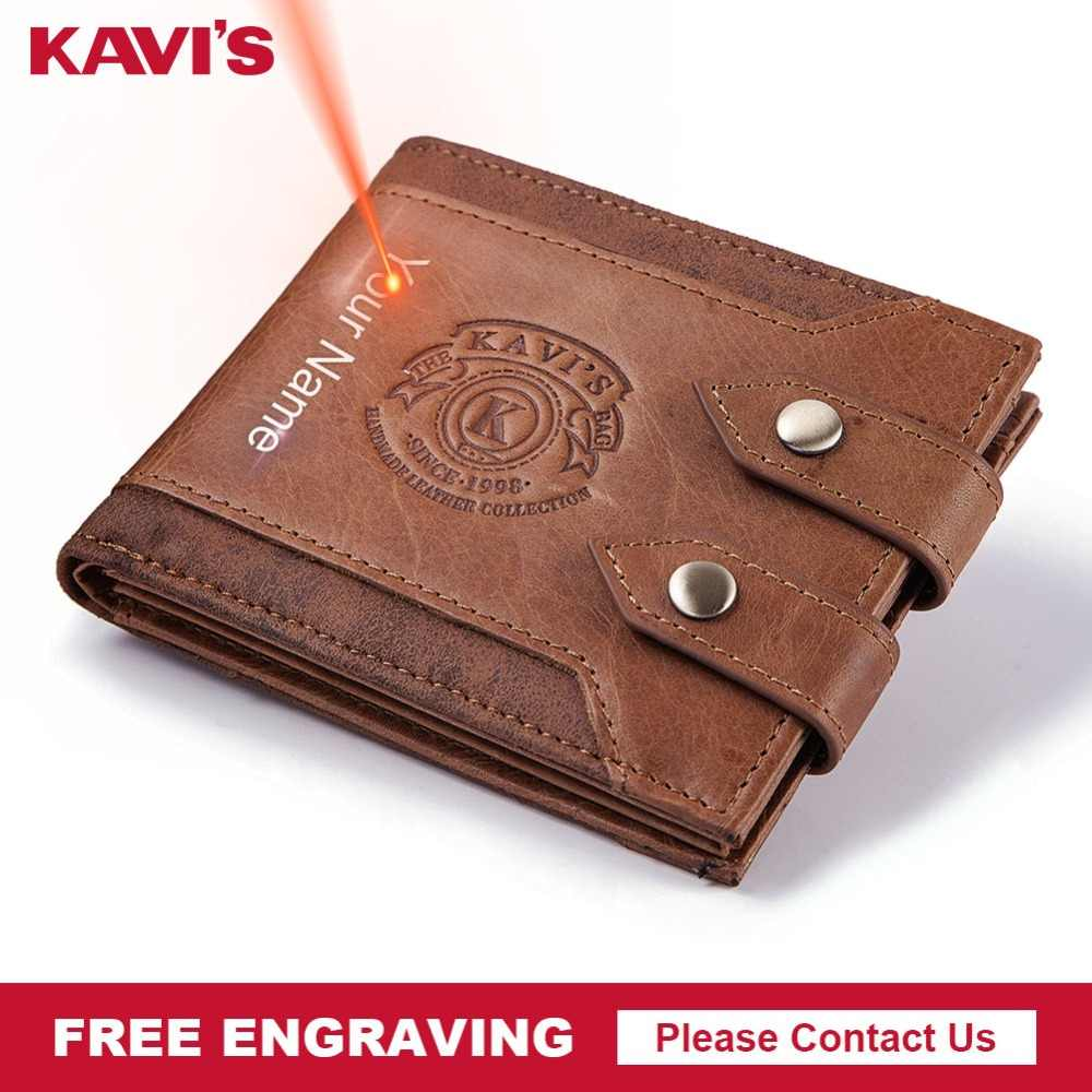 KAVIS Free Engraving High Quality Genuine Leather Men Wallet Coin Purse Small Walet Portomonee PORTFOLIO for Male Card Holder