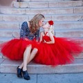 Vermelho feito sob encomenda crianças filha e mãe da festa de casamento aniversário Fotografia pano saia define família roupas combinando vestido Europa