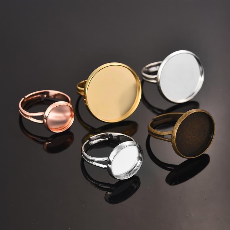 5pcs 18x25mm Charm Oval Black Ring Base Setting Cabochons Ring Blanks Trays DIY
