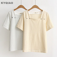 KYQIAO Women Pullover Female Autumn Summer Japanese Style Preppy Short Sleeve Square Collar Yellow Grey Striped