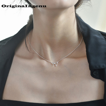 Collar collar mujer Plata de Ley 925 Vintage Simple lazo elegante único madre novia regalo joyería para mujer gargantilla Kolye