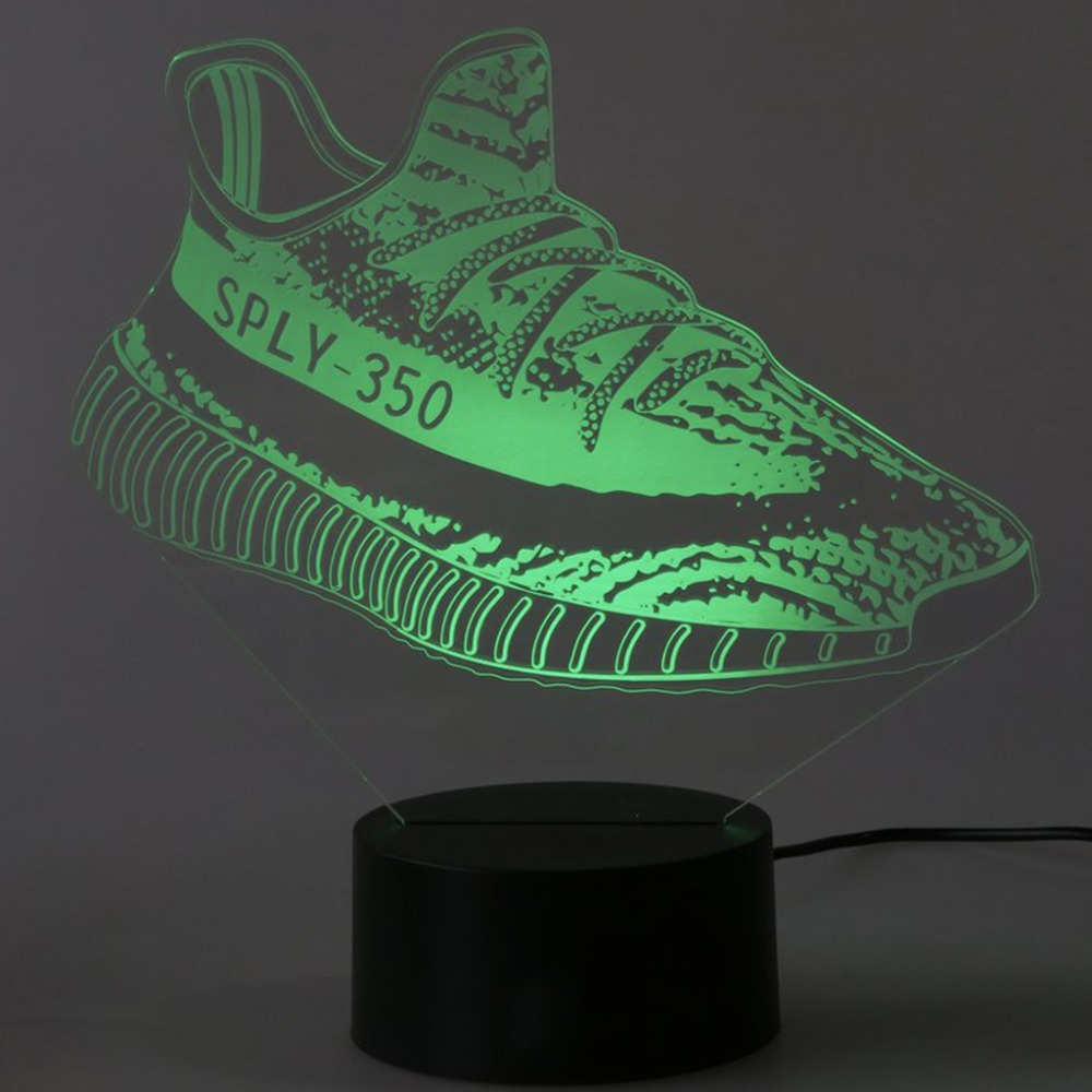 Home Decoration Mood Lighting Visual Casual Shoe Styling Table Lamp Kid Bedroom 3D LED Touch Switch Colorful Gradient NightLight