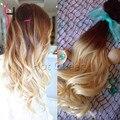 Hot queen alta calidad clip en extensiones de cabello humano ombre balayage 7 unids/set color 4/60 clip ins extensiones venta caliente by26