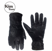 KIM YUAN 024 Goat Skin Motorcycle/Outdoor and Garden Winter Warm Windproof Black Protective Gloves Men & Women Free Shipping