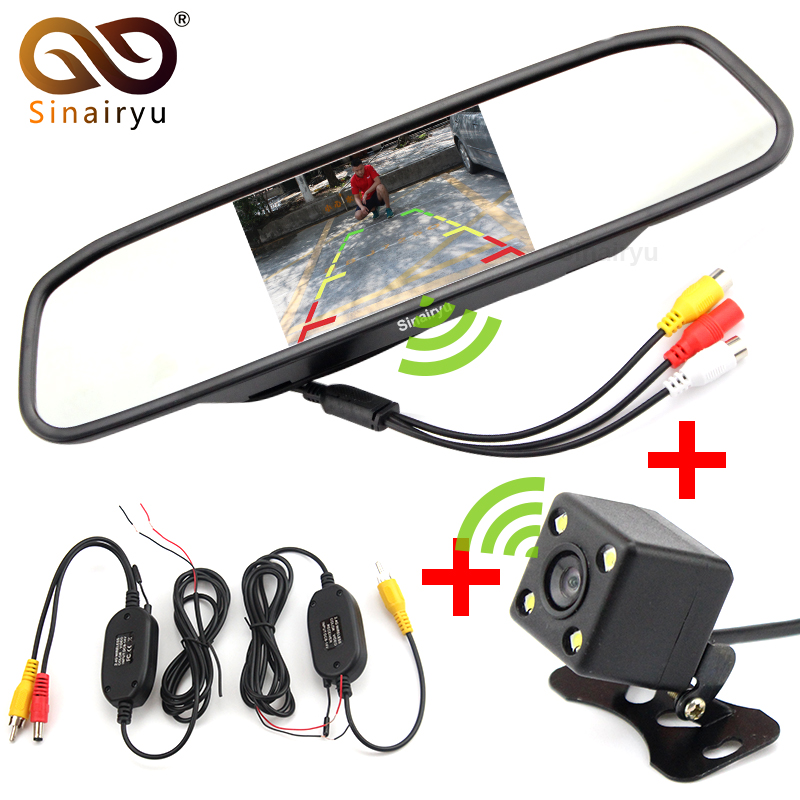 Sinairyu Wireless Parking Video Player. Wireless Transmitter Receiver Kit Car Rear View Camera With 4.3 Mirror Monitor