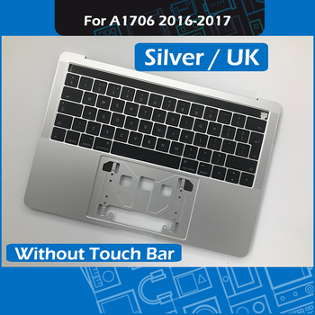 "Silver A1706 Replacement Topcase UK Layout for MacBook Pro Retina 13"" Touch Bar A1706 Palm rest Top case with Keyboard 2016 2017"