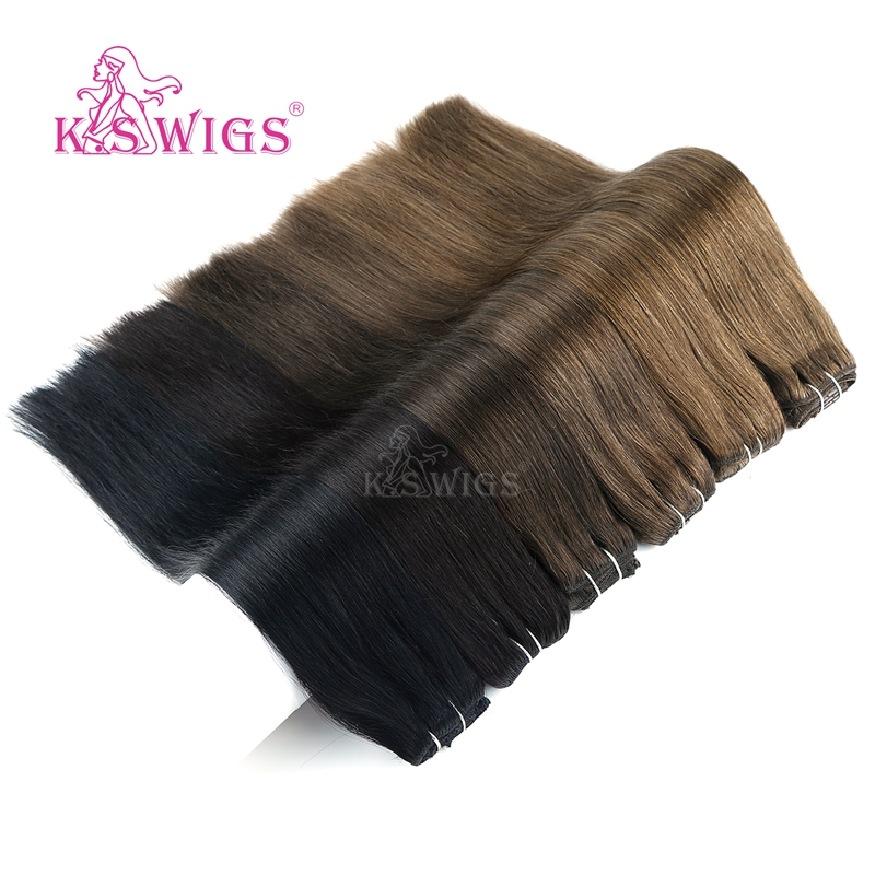 K.S WIGS Full Head Straight Remy Clip In Human Hair Extensions Double Drawn Natural Human Hair 7 Pcs/set 16 Clips 20'' 130g