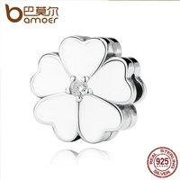 BAMOER Strand Bracelet 925 Sterling Silver WHITE PRIMROSE CLIP Charms For Charm Bracelet Women Beads Jewelry