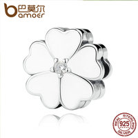 BAMOER Strand Bracelet 925 Sterling Silver WHITE PRIMROSE CLIP Charms For Charm Bracelet Women Beads Jewelry