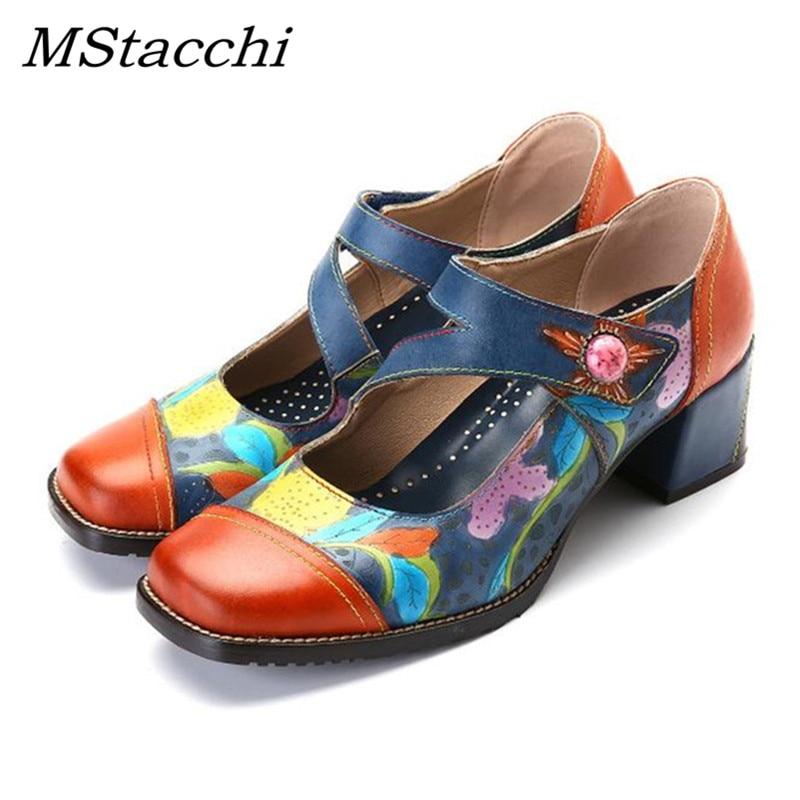 MStacchi hecho a mano naranja azul Mary Jane zapatos de moda Zapatos gruesos de Mujer Zapatos individuales Color a juego talla grande trabajo mujeres bombas-in Zapatos de tacón de mujer from zapatos    1
